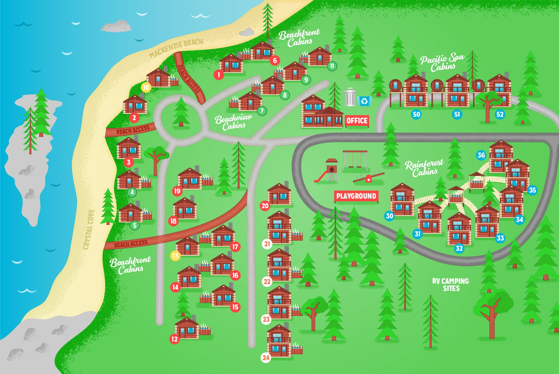 Crystal Cove Resort Cabin Map
